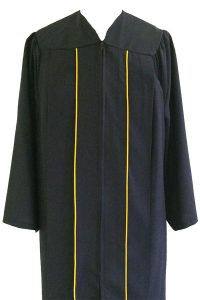 Photo of black undergraduate robe with gold piping.