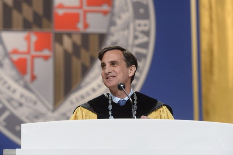 Photo of President Daniels speaking at 2017 Commencement
