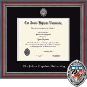 Photo of a diploma in a diploma frame.
