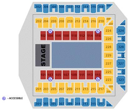 Royal Farms Arena accessible seating chart.